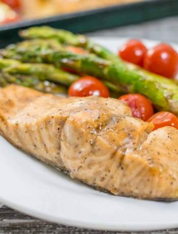 plate of roasted salmon and veggies