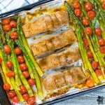 cooked pan of one pan balsamic glazed salmon and asparagus
