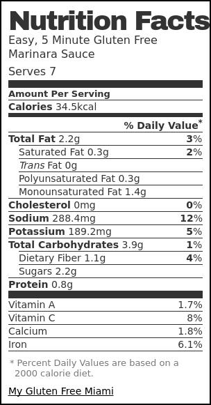 Nutrition label for Easy, 5 Minute Gluten Free Marinara Sauce