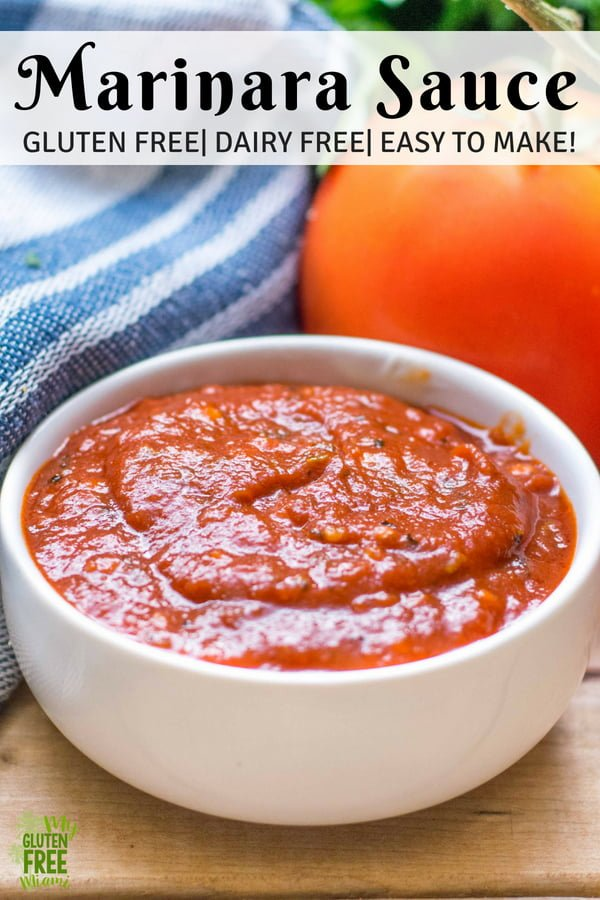 5 Minute Gluten Free Marinara Sauce is packed with tomatoesand garlicky goodness. With a flavor that tastes like it's been simmering all day, it will become a recipe you make again and again! This perfectly dippable Marinara is perfect for Mozzarella sticks, breadsticks, pizza and more! Easy to make and perfect for people on a time budget!