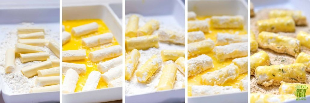5 steps to breading gluten free air fryer mozzarella sticks