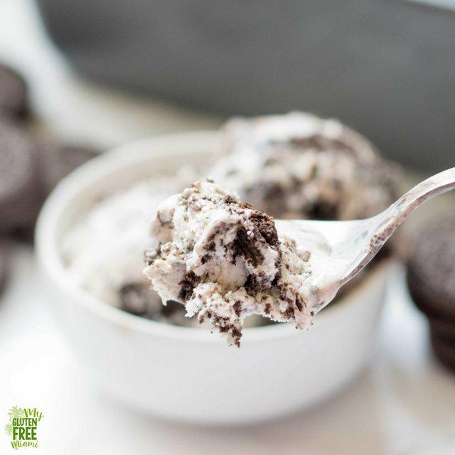 Spoon of no churn gluten free cookies and cream ice cream