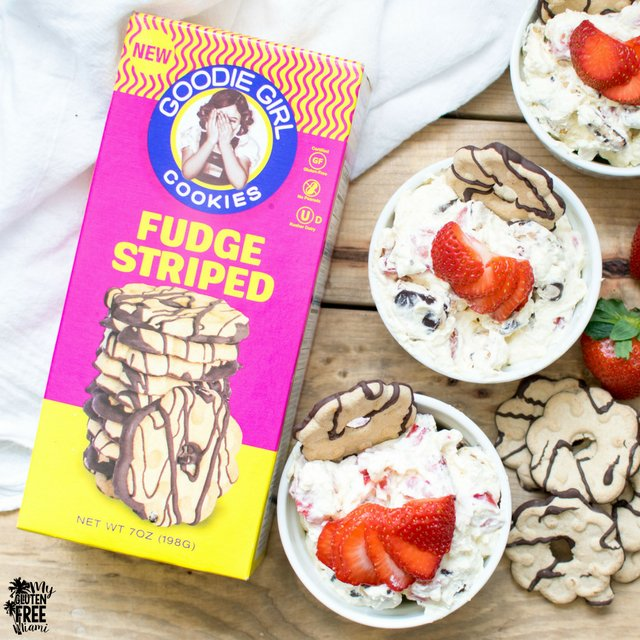 Gluten Free Cookie Salad with Goodie Girl Fudge Striped Cookies