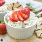 gluten free cookie salad individual serving with spoon and strawberries