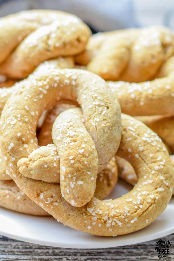 Up close shot of plate of gluten free soft pretzels
