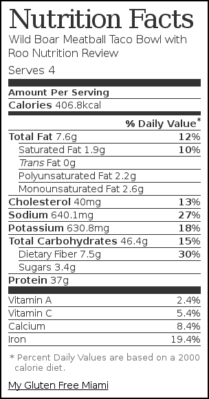 Nutrition label for Wild Boar Meatball Taco Bowl