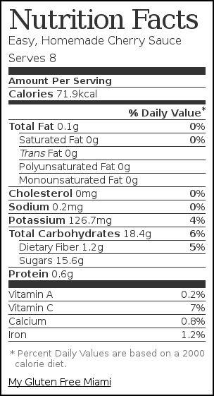 Nutrition label for Easy, Homemade Cherry Sauce