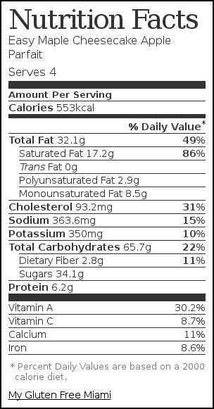 Nutrition label for Easy Maple Cheesecake Apple Parfait