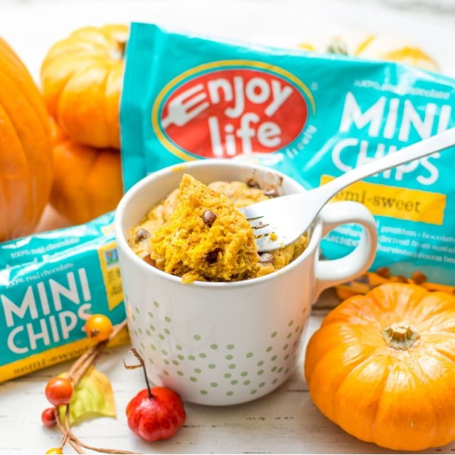 Gluten Free pumpkin spice cake with enjoy life chocolate chips