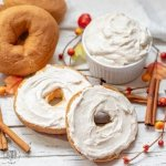 Whipped Maple Cinnamon Cream Cheese on a a gluten free bagel