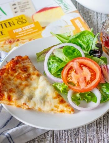 slice of pizza with salad