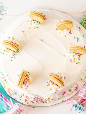 overhead shot of gluten free birthday ice cream cake