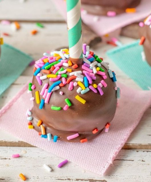 Up close of gluten free brownie pop with sprinkles
