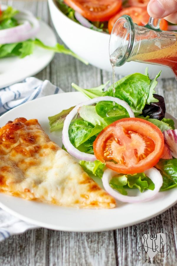 Gluten Free Pizza with Salad and Red wine vinegraitte