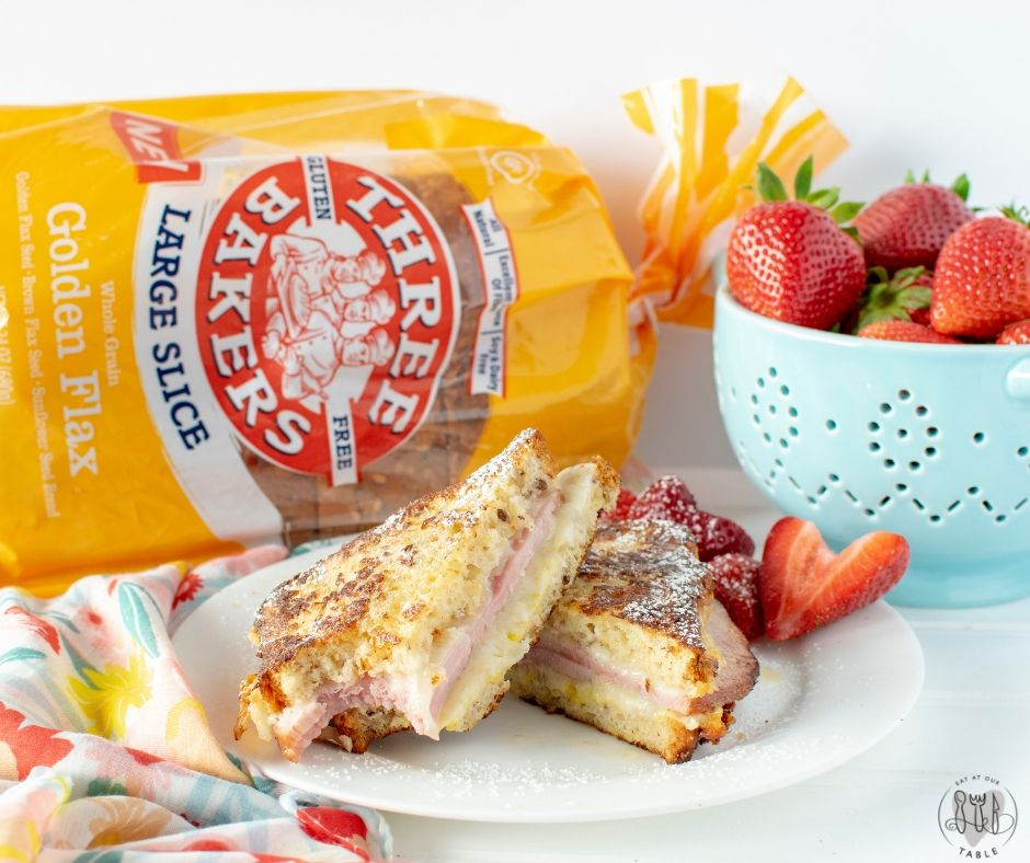 Three bakers golden flax bread with Monte Cristo Sandwich