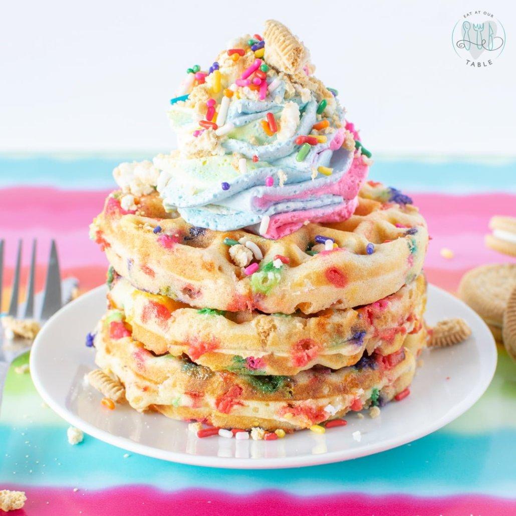 Gluten Free Rainbow Cookie Waffles