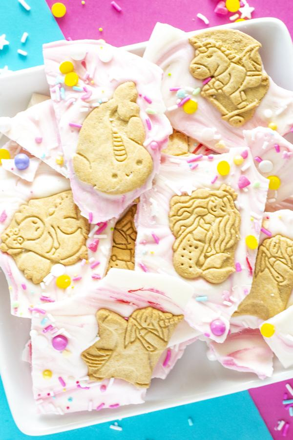 White chocolate unicorn bark with gluten free animal crackers