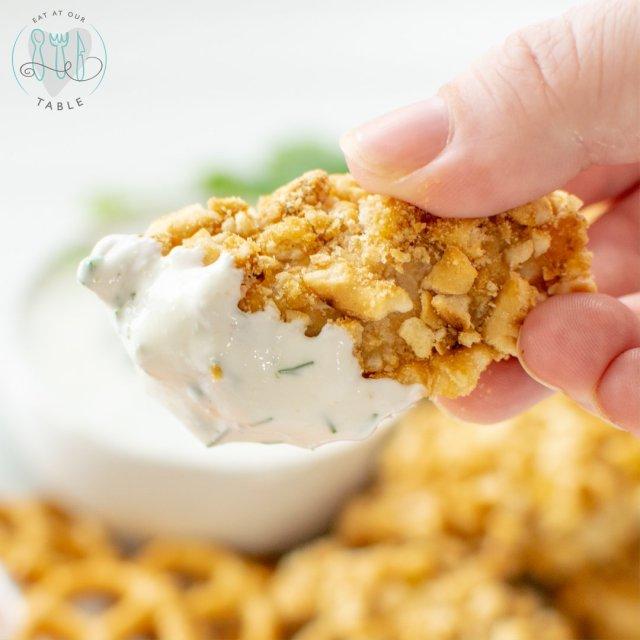 gluten free pretzel crusted chicken nuggets with greek yogurt herb dipping sauce