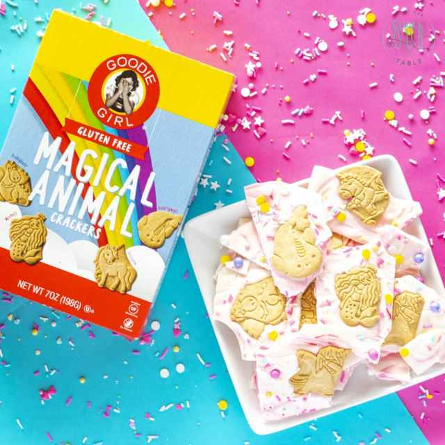goodie girl magical animal crackers with white chocolate unicorn bark with colored sprinkles