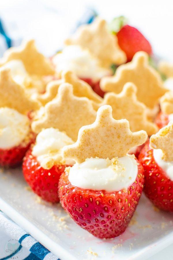 Cheesecake Stuffed Strawberries on a plate