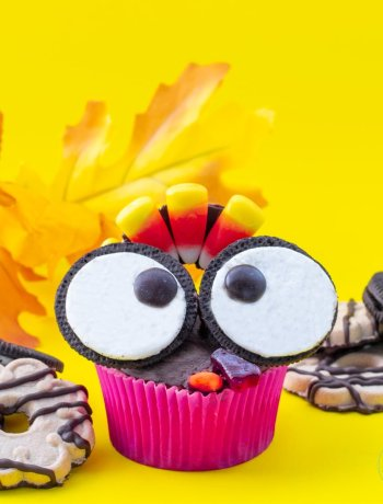 Gluten Free Turkey Cupcake with chocolate creme cookie eyes and candy corn feathers