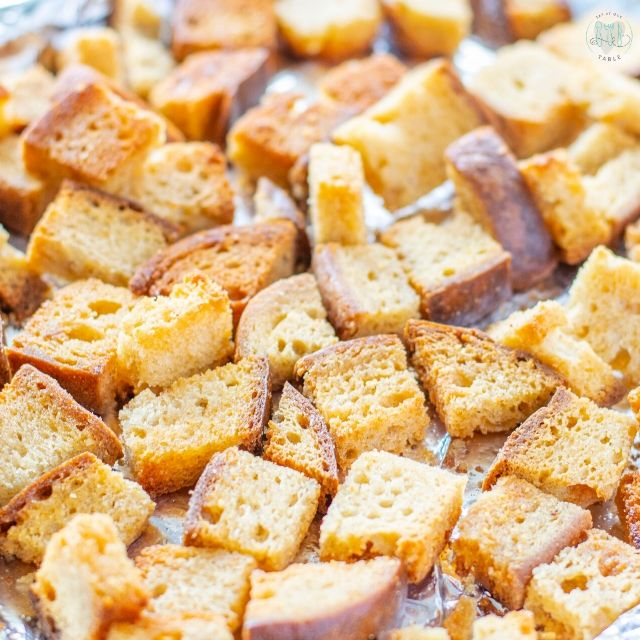 pan of croutons out of the oven