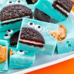 Up close of gluten free cookie monster fudge.