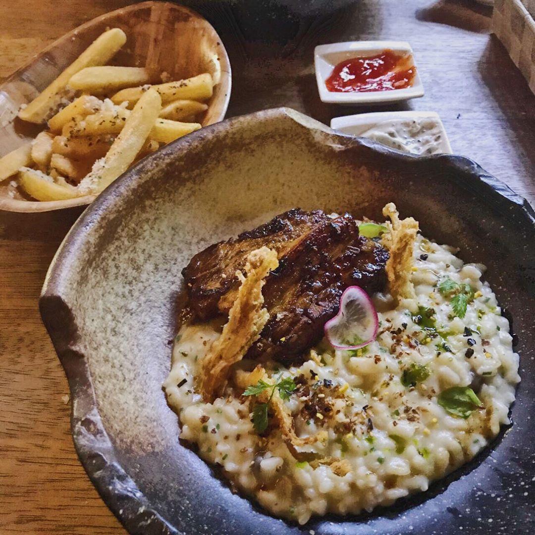 unique risotto - pork belly risotto