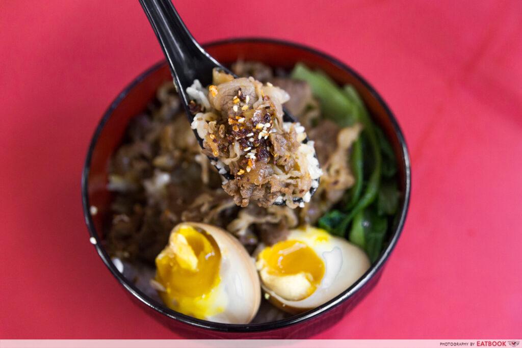 Give Me More - Beef Rice Bowl Closeup