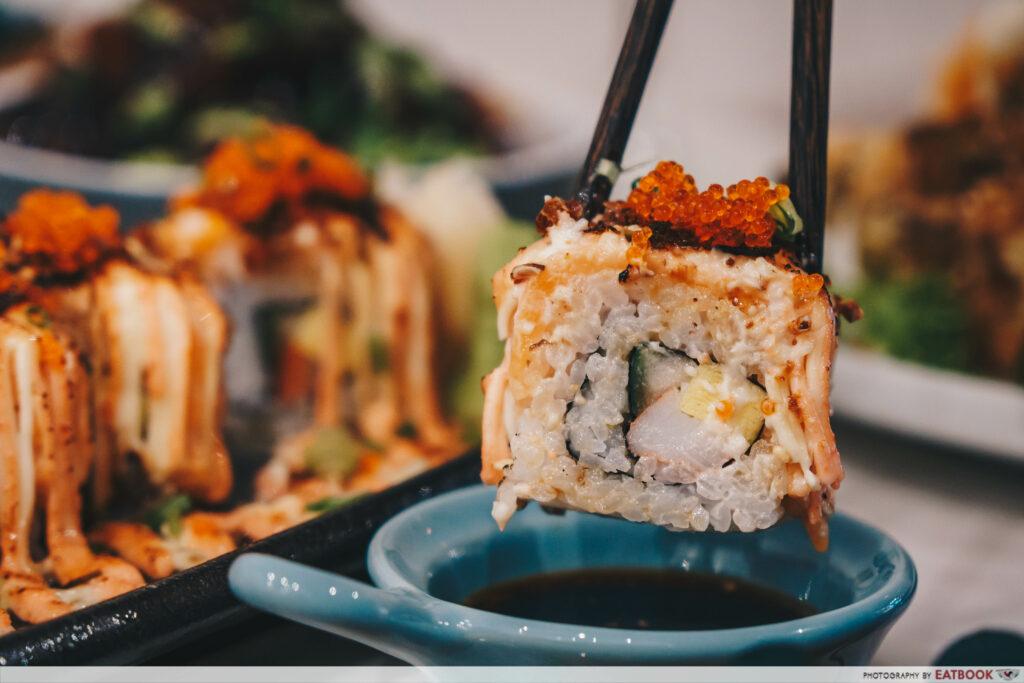 Bao Makers Salmon Mentaiko Roll close up