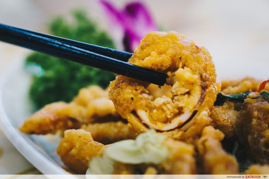 Penang Seafood Restaurant - Sotong With Salted Egg Close Up