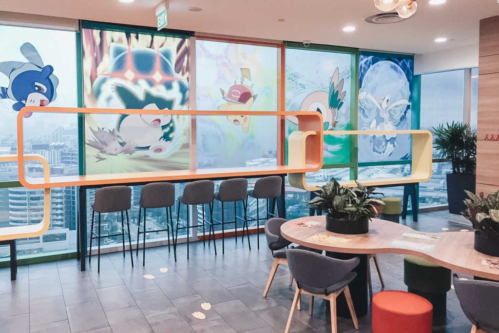pokemon-themed cafe ambience