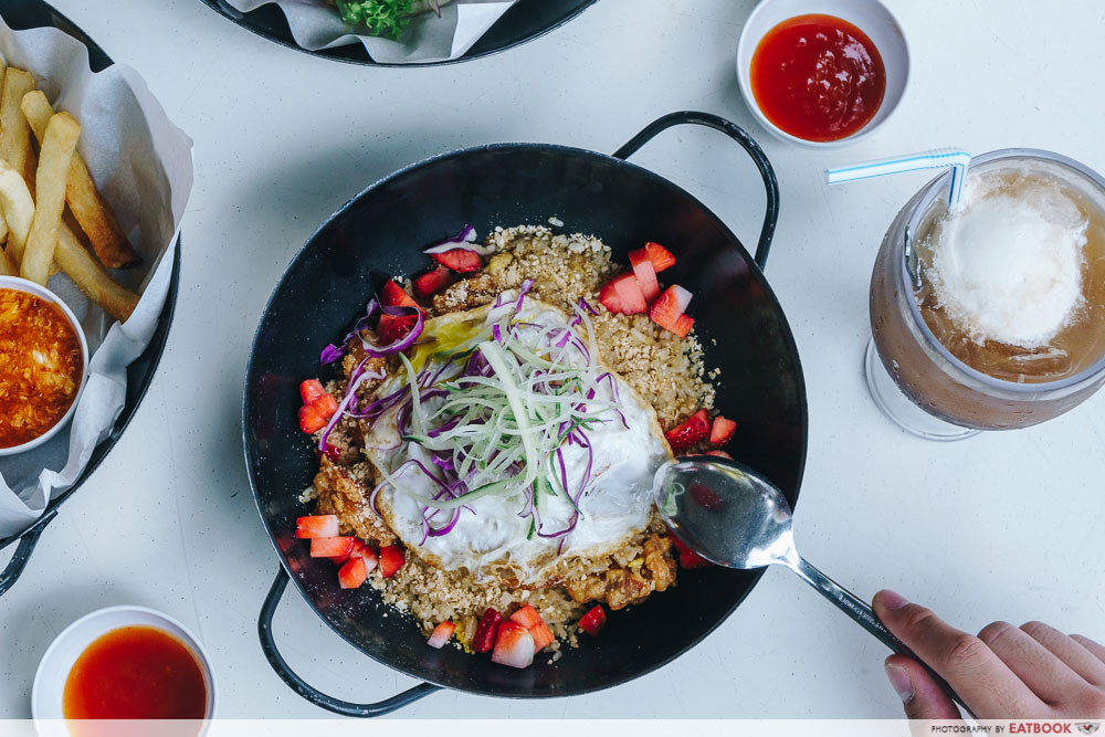 wok in burger strawberry cereal fried rice