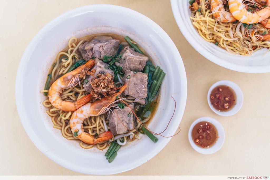 Prawn & Mee pork rib with prawn noodles