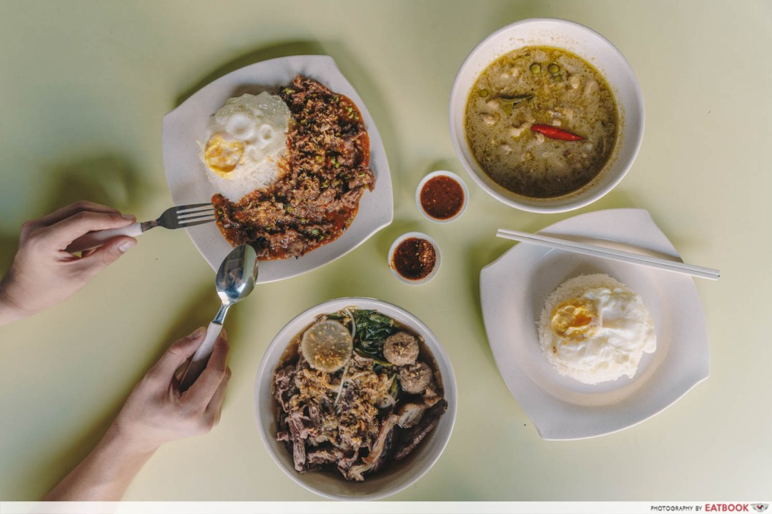 omar's halal thai beef noodles flatlay