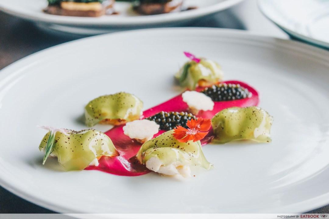 maybank michelin beautiful restaurants aura jumbo crab apple lobster emulsion and oscietra caviar