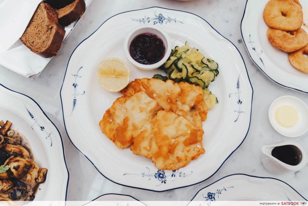 top-down shot of the schnitzel