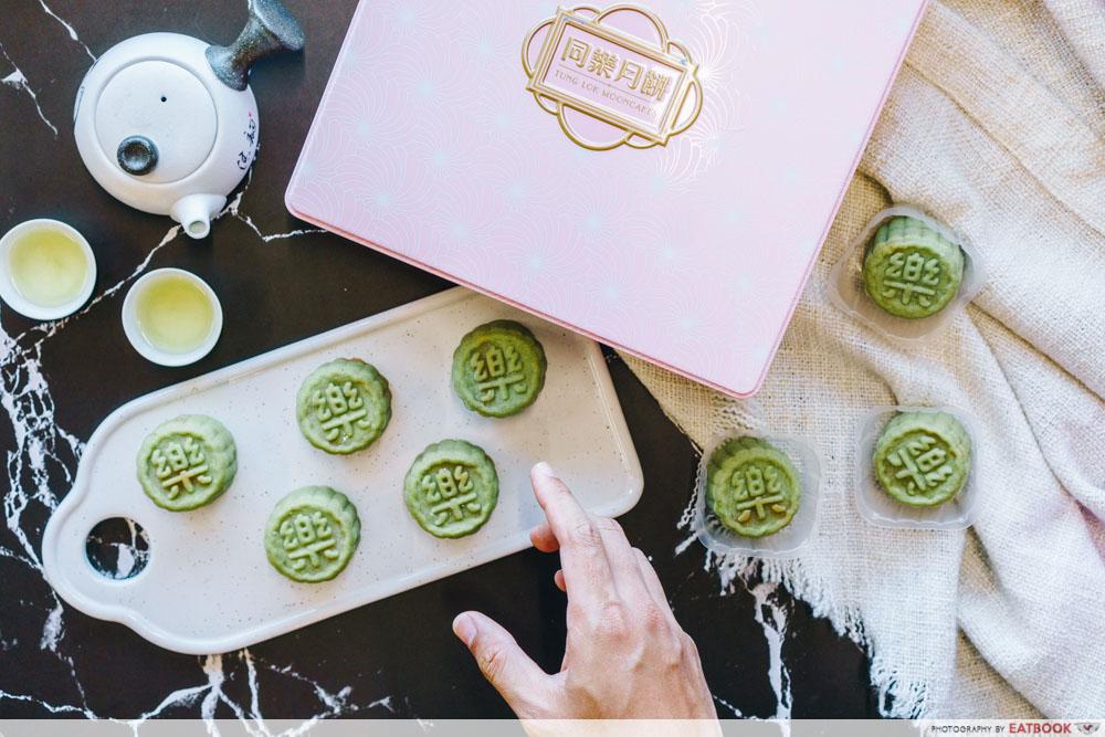 Flatlay of green snowskin mooncake