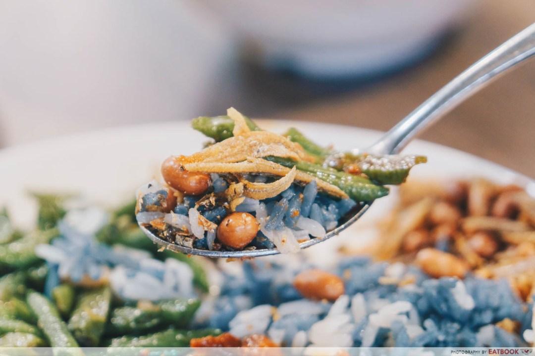 Emmanuel Peranakan Cuisine - Rice with long bean, ikan bilis and peanuts