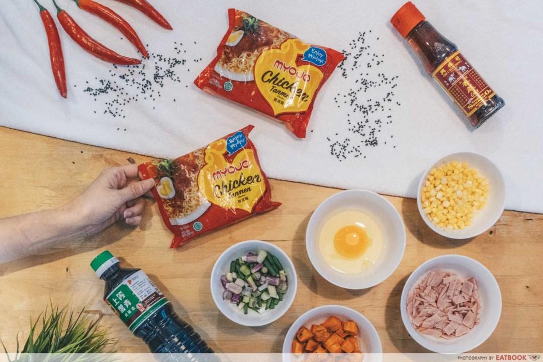 Instant Noodles Recipes - Fried Sesame noodles flatlay