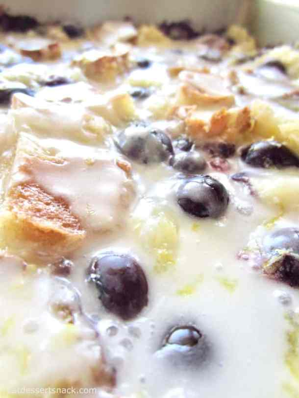 Lemon Blueberry Bread Pudding - easy, simple ingredients, filled with plump blueberries and fresh lemon flavor!