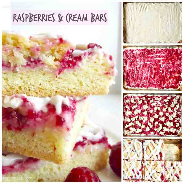 Raspberries and Cream Bars have a sweet chewy crust, creamy cheesecake filling, and are topped with a sweet cream glaze! Perfect potluck and party recipe.