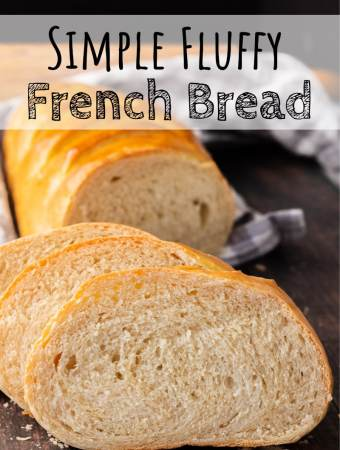 Sliced and baked simple fluffy french bread.