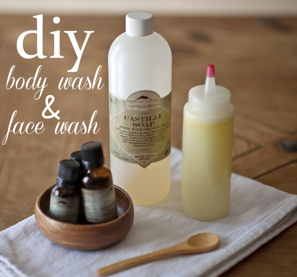 DIY face wash and body wash recipe.  Make your own gentle face wash and body wash instead of spending money on them at the store.