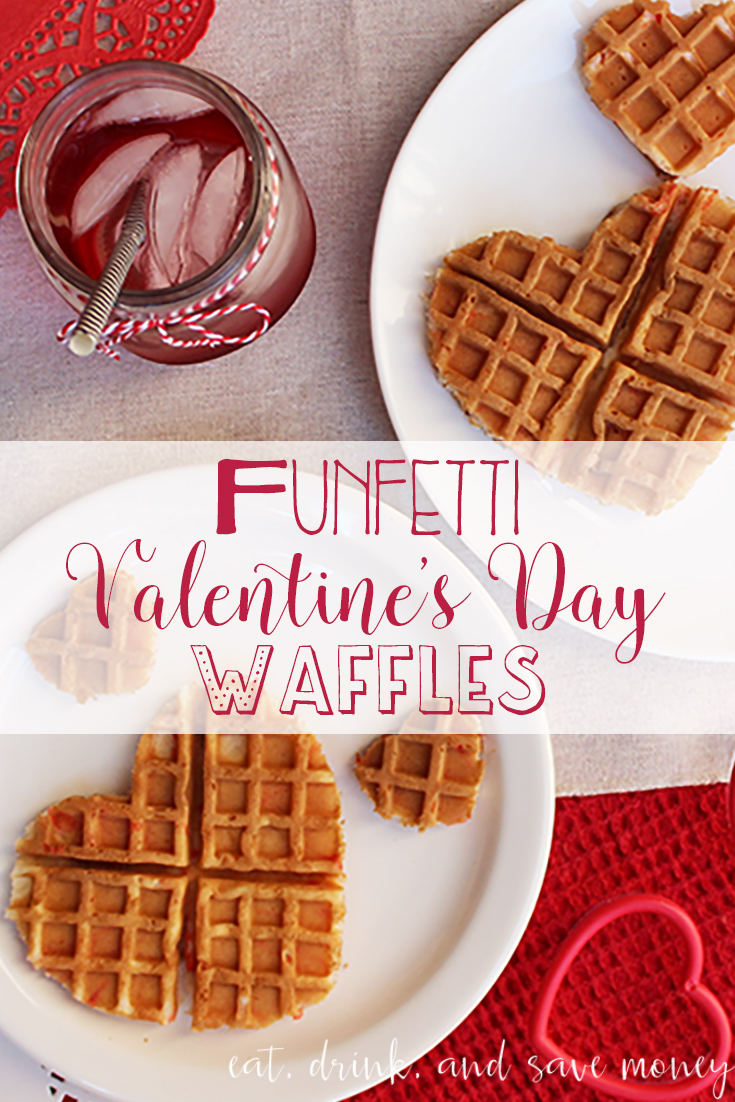 Funfetti Valentine's Day Waffles are so much fun to make for with kids to celebrate