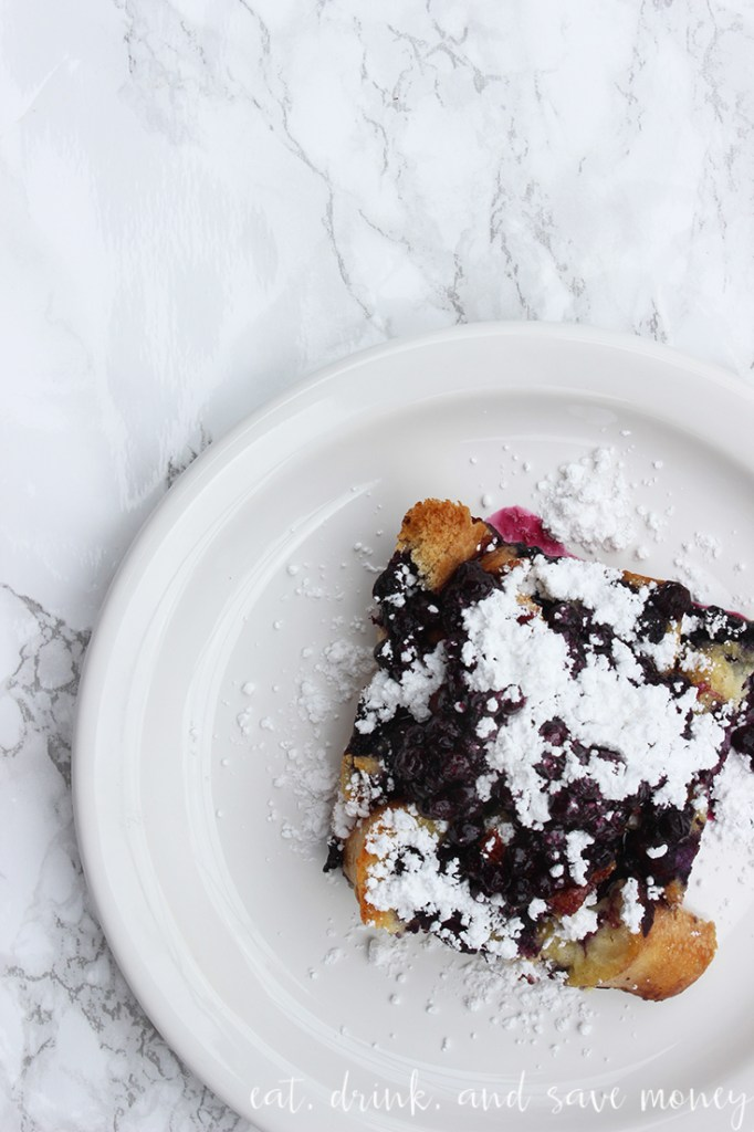 French toast casserole with lots of powdered sugar