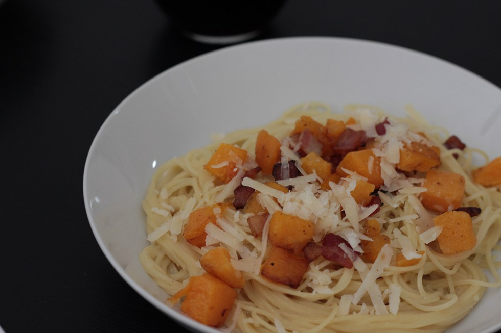 Angel hair pasta with sage cream sauce, butternut squash, and bacon