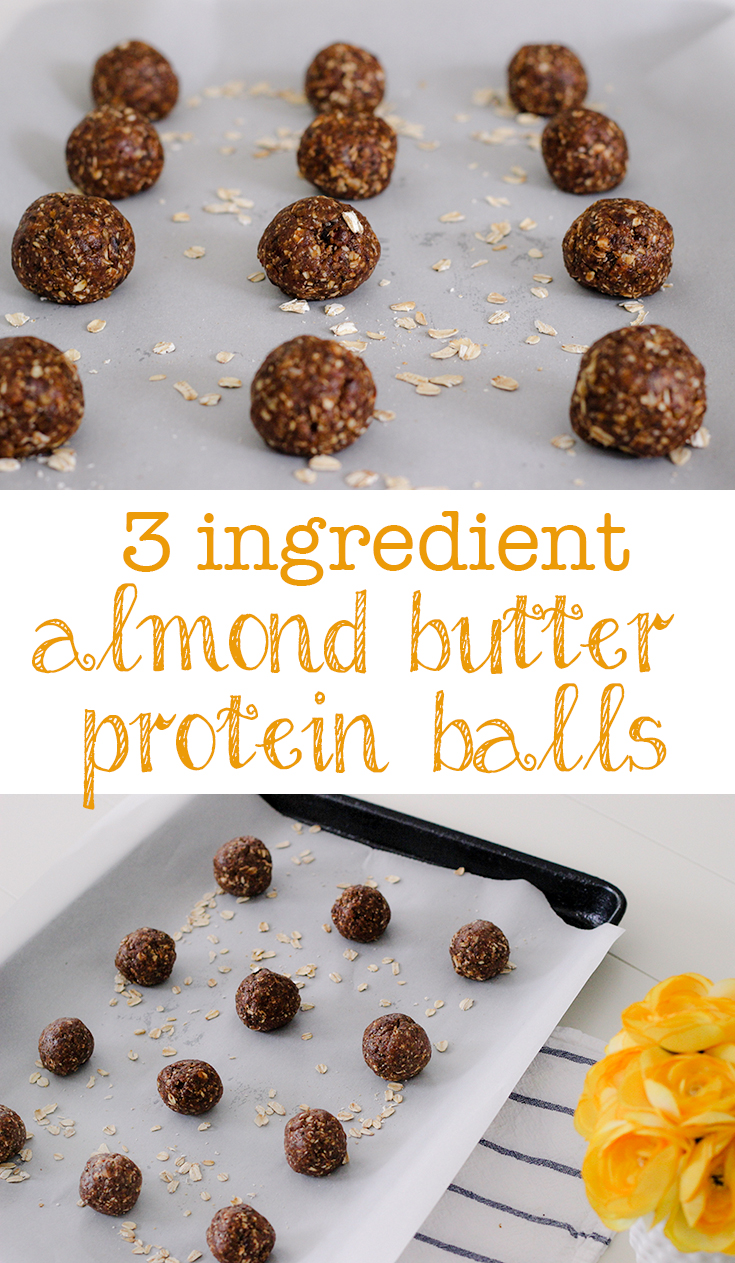 3 ingredient almond butter protein balls made with Betsy's Best almond butter