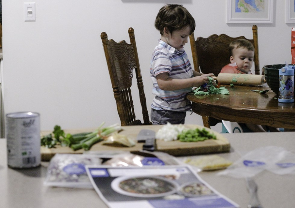 Boys entertaining themselves while I cook Green Chef meal