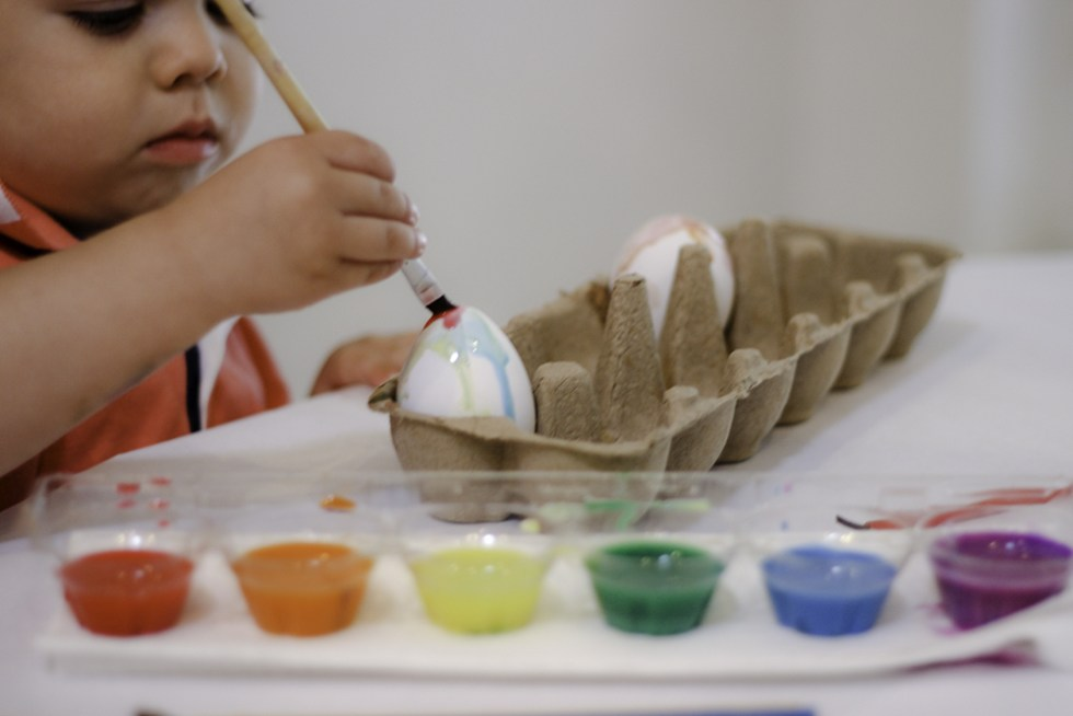 Decorate Easter Eggs with kids by painting them